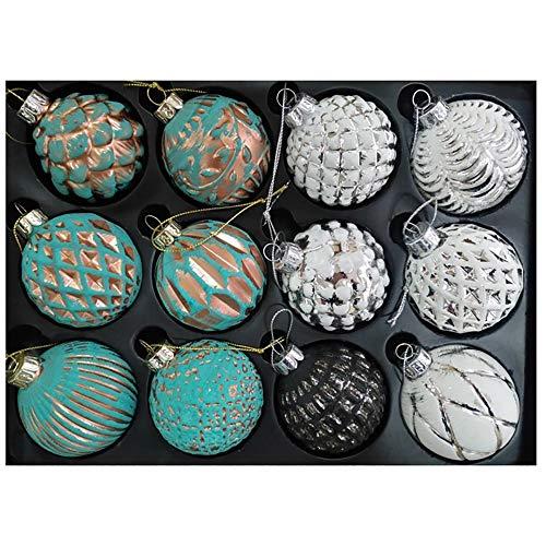 12 x Weihnachtskugeln aus Glas Ø 6 cm Farbe türkis-grün mit weiß und schwarz