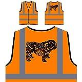Englisch Bulldogge Bunten Boho Stil Personalisierte High Visibility Orange Sicherheitsjacke Weste s837vo