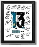 ASENER Real Madrid 13 Cornice Firma Champions League, Firmato Autografi Fan Album Commemorativo, Include Ronaldo Zidane Bale Ramos Benzema Kroos Modric,10Inch