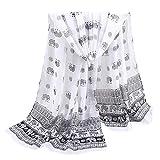 Xmiral Damen Schal Rose Druck lange weiche Retro Wrap Schals Damen Chiffon dünnen Schal(Weiß)