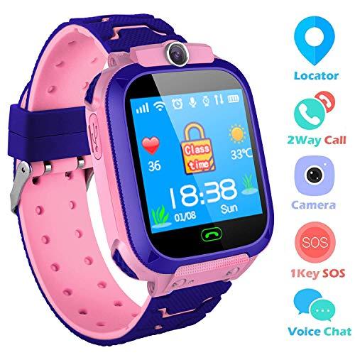 Smart Watch per bambini GPS Tracker - IP67 impermeabile Smartwatch con SOS Voice Chat fotocamera torcia sveglia orologio digitale orologio da polso per ragazze ragazzi compleanno (02 smartwatch rosa)