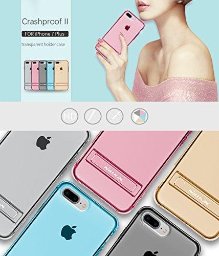 Hülle für iPhone 7 plus , Schutzhülle Für iPhone 7 Plus Crashproof Bordure Transparente weiche TPU Schutzmaßnahmen zurück Fall mit Aluminiumlegierung Halter ,hülle für iPhone 7 plus , case for iphone  Blue