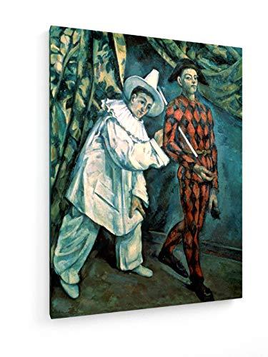 Kostüm Museum Für Kunst - Paul Cezanne - Pierrot und Harlekin - 1888-30x40 cm - Leinwandbild auf Keilrahmen - Wand-Bild - Kunst, Gemälde, Foto, Bild auf Leinwand - Alte Meister/Museum