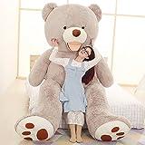 VERCART Groß Teddybär Spielzeug Kuscheltier Gigantischer Puppe Weiches Plüsch als Geschenk Geburtstagsgeschenk zur Dekoration Erwachsene Kinder Grau 200CM