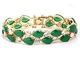 AieniD - Pulsera Mujer Joven Esmeralda Verde Cristal Lágrima Cadena 19Cm Brazalete de Oro para Mujer