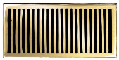 Brass Elegans 116HR-PLB Solid Cast Brass Contemporary 6-Inch by 12-Inch Floor Register, Polished Brass Finish Model by Brass Elegans