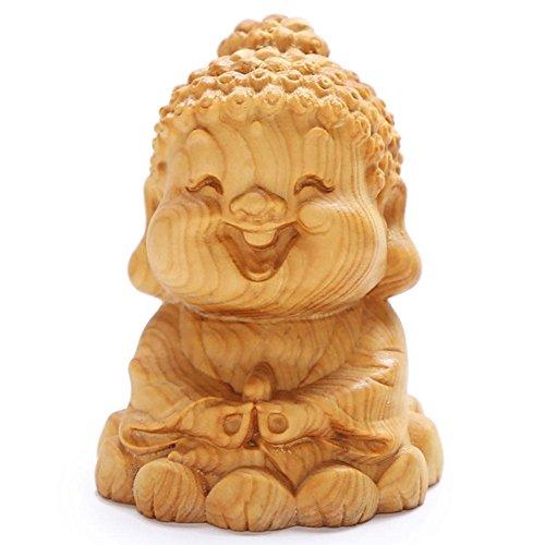 CLHK Boxwood Schnitzen Q Version Tathagata Cartoon Laughing Buddha Auto Home Decoration kreative Handwerk hölzerne Statue Collectibles , 31 mm in diameter and 40 mm in diameter. (Frosch-figuren Sammlerstücke)