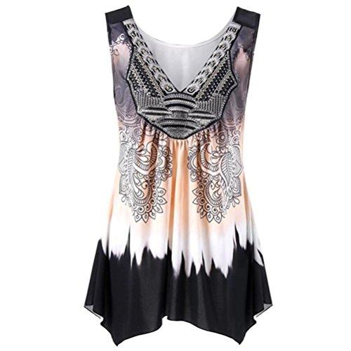 Sanfashion bekleidung camicia - con bottoni - tinta unita - rimovibile - senza maniche - donna cachi xxxl