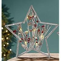 Girlande Sterne Herzen Deko 66cm grau Xmas Weihnachten