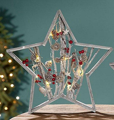 Ch trading - stella decorativa a led, rami, grigio/bianco, con pigne e bacche rosse, per 2 batterie aa 1, 5 v