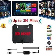 Eleganantamazing - Antena Plana de 200 Mile para televisores HD HDTV 1080P 4K DTV Sky Link