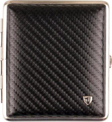 Sigarette - Custodia in pelle Carbonoptik nero struttura in nichel opaco 18 con elastico