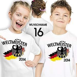 Deutschland Kinder T-Shirt zur Fussball WM 2014 personalisiert mit eigener Rückennummer und Wunschname Gr.92