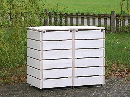 2er Mülltonnenbox / Mülltonnenverkleidung 120 L Holz, Transparent Geölt Weiß - 4