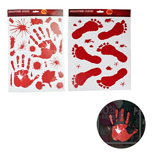 Ounona 2 fogli della finestra di halloween si aggrappa impronta sanguinosa impronte di mani adesivi decalcomanie decorazioni per pareti finestra spaventosa per halloween party spook house