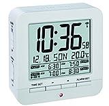 TFA Dostmann 60.2536.02 Funk-Wecker, mit 4 Weckzeiten, Anzeige des Datums und Innentemperatur, 9.2 x 9.2 x 3.2 cm, weiß, Kunststoff