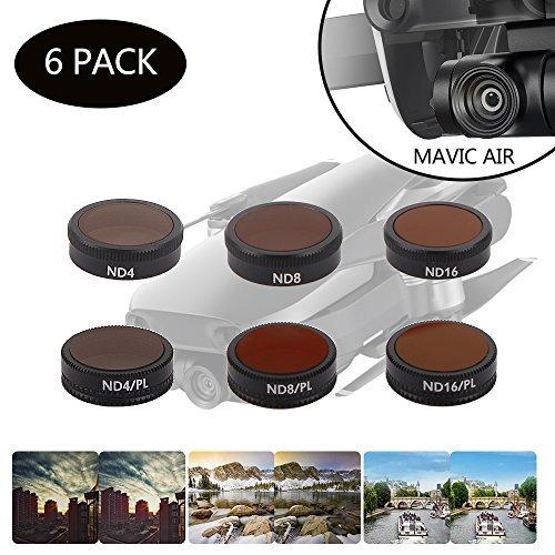 DJI Mavic Air Filter - DJI ND Filter - Filtros de polarizador DJI Mavic - Kits de filtros de lente HD platino (filtro ND4 + ND8 + ND16 + ND4/PL + ND8/PL + ND16/PL) 6 PACK