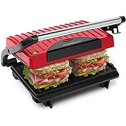 Aigostar Warme 30HHH - Grill multifonction, plancha, presse à paninis, appareil à sandwichs. 700W, plaques anti-adhésives, poignée froide. Sans BPA. Couleur rouge et noir. Design exclusif.