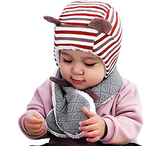 Baby Scarves KanLin Kid Scarf Heart Shape Velvet Thickening Warmer Pattern Baby Scarf (Gray)