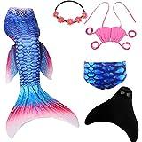 UrbanDesign Meerjungfrau Flosse Zum Schwimmen Meerjungfrau Schwanz mit Flosse mit Bikini für Kinder Mädchen, 7-8 Jahre, Blau Rot