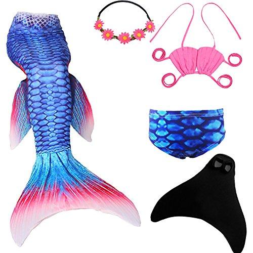 UrbanDesign Meerjungfrau Flosse Zum Schwimmen Meerjungfrau Schwanz mit Flosse mit Bikini für Kinder Mädchen, 5-6 Jahre, Blau Rot (Rot Zum Meerjungfrau Schwimmen Schwänze)