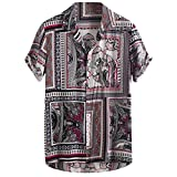 Xmiral Camicie Casual Larghe a Maniche Corte da Uomo Stampate Vintage Girocollo a Manica Lunga Vintage (XXXL,9- Rosso)