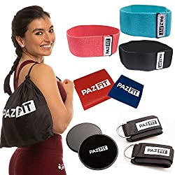 PAZFIT Fitness-Kit - Professionelles Set mit Fitnessbändern, Elastikbändern, Core Slidern und mehr für effektives Ganzkörpertraining überall - Home Gym für Frauen- mit Trainingsplan
