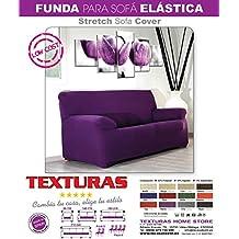 TEXTURAS VIP- Funda de sofá Elástica LOW COST ( Varios tamaños disponibles ) (3_Plazas_180_210_cms, Malva)