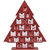 Valery Madelyn Nordic Style Red and Grey Christmas Decoration Paper House Advent Calendar with 24 Drawers, 34cm