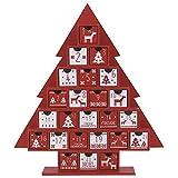 Valery Madelyn 35cm Traditioneller Baum geformter Adventskalender zum Befüllen in Rot und Weiß, mit Typischen Mustern und 24 KästchenValery Madelyn Adventskalender Weihnachtsbaum mit 24 Kästchen Zum Befüllen 35cm aus Karton Tannenbaum Countdown Weihnachtskalender in Rot und Weiß Weihnachtsdeko für Weihnachten Advent Kinder Geschenk