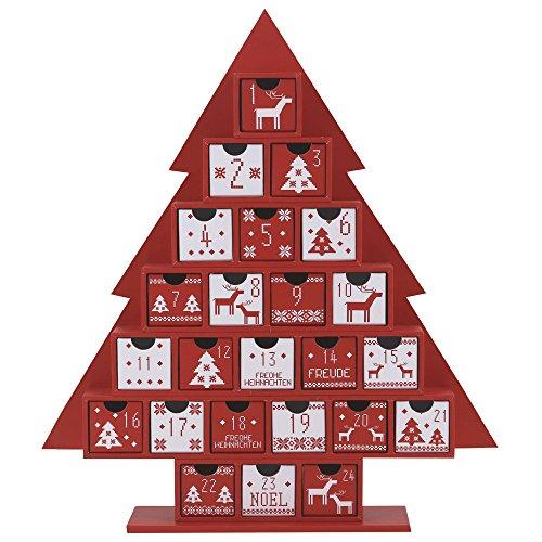 Valery Madelyn Winter Weihnachten 35cm Traditioneller Weihnachtsbaum geformter Adventskalender zum Befüllen in Rot und Weiß, mit Typischen Weihnachtlichen Mustern und 24 Kästchen