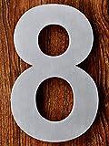 QT Número de casa moderna - 15 Centímetros - Acero inoxidable (Número 8 Ocho), Apariencia flotante, Fácil de instalar y hecho de acero inoxidable 304