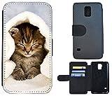 Cover Schutz Hülle Handy Tasche Etui Case Flip für (Samsung Galaxy S5 Mini G800, 1003 Katze Katzen Baby Braun Blau Weiß)