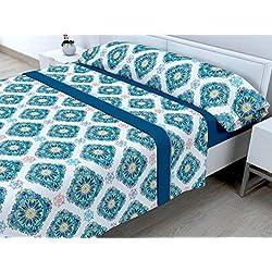 Cabetex Home - Juego de sábanas termicas de pirineo - 3 Piezas - 120 Gr/m2 - Mod. Elian (Azul, 105_x_190/200 cm)