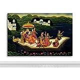Tamatina Rajasthani Phad Canvas Paintings - Radha Krishna In Love - Rajasthani Tribal Painting - KrishnaPaintings - Rajasthani Wall Décor - Traditional Rajasthani Paintings - Rajasthani Paintings - Paintings For Bed Room - Paintings For Living Room
