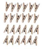 24 Stück natur Wäscheklammern Dekoklammern Klammern Holzklammern Holz 3,5 x 1 cm - nicht nur als Deko Mini-Klammer für Geschenktüten oder Adventskalender-Tüten zum selber Basteln