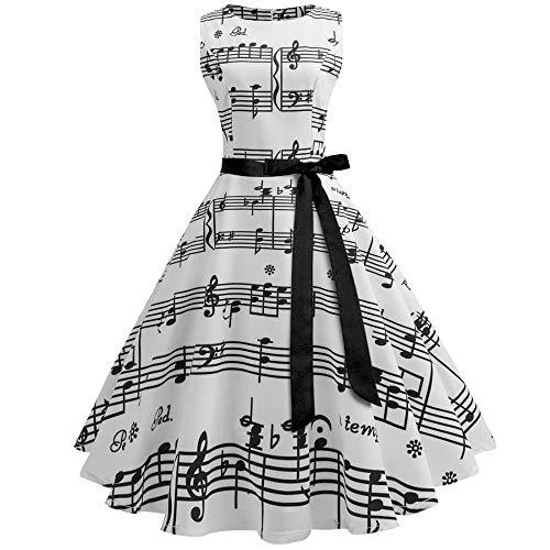 LETAMG Kleid Vintage Note Print Elemente Binden Taille Kleid, S - Print Taille Binden