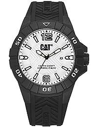 CAT Karbon Men's Watch Silver Dial 45.5 MM Black Silicone Strap K112121231