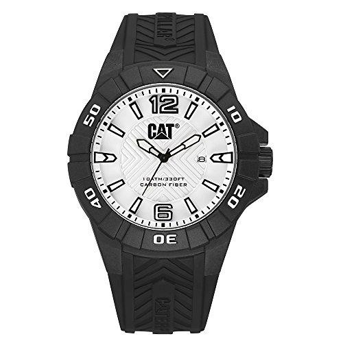 CAT Karbon Men's Watch Silver Dial 45.5 MM Black Silicone Strap K112121231 (Männer Watch Cat)