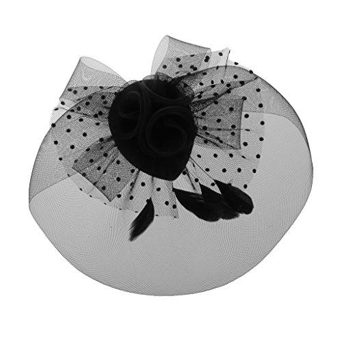 Chapeau Fascinateur Couvre-chef en Maille avec Fleur Décor Accessoire Elégant pour Mariage - Noir