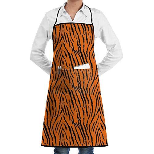 Drempad Schürzen/Kochschürze, Tiger Stripes Orange Pattern Adjustable Bib Apron Pockets Home Kitchen Garden Restaurant Cafe Bar Pub Bakery for Cooking Chef Baker Servers Craft Unisex Pink Tiger Stripe