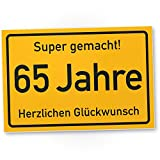 DankeDir! 65 Jahre Stadtschild/Kunststoff Schild - Geschenk 65. Geburtstag, Geschenkidee Geburtstagsgeschenk Fünfundsechzigsten, Geburtstagsdeko/Partydeko / Party Zubehör/Geburtstagskarte