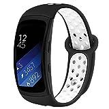 Kmasic Kompatibel Gear Fit 2 Pro / Fit2 Armband, Silikon Bänder Ersatzband für Samsung Gear Fit 2 & 2 Pro Tracker- Schwarz/Weiß