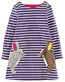 Kaily Mädchen Baumwolle Langarm T-Shirt Kleid(Lila,7T/7-8Jahre)