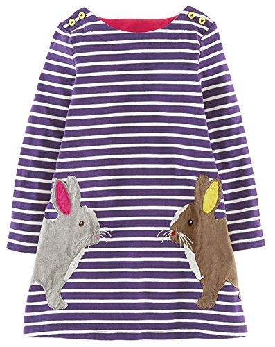 Kaily Mädchen Baumwolle Langarm T-shirt Kleid(Lila,4T/4-5Jahre) (T-shirt Kleid Lila)