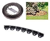 Bordura da giardino in plastica flessibile di colore nero, 10 metri, con 50 robusti picchetti/ancore di fissaggio, per delimitare il prato, per giardinaggio e progettazione di giardini