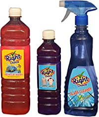 Right Choice Vehicle Wash Liquid, 1 lt. and Right Choice Fabric Wash Liquid, 500 ml and Right Choice Glass Cleaner Liquid, 500 ml (Pack of 2) (Combo of 4)