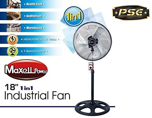 "Maxell Power CE Ventilador DE PIE Industrial 18\"" Pulgadas 115W 3 VELOCIDADES Garantia"