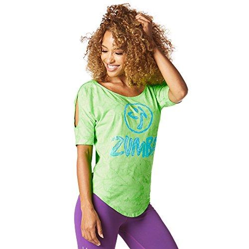 Zumba Fitness Damen Forever Wild Cold Shoulder Top Frauentop, Get in Lime, S (Zumba Tops Für Damen Grün)