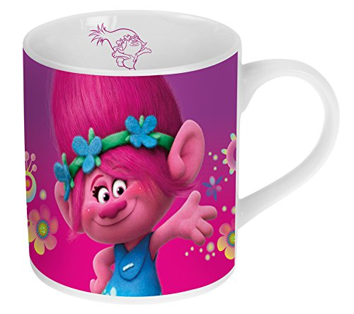 Trolls Porzellan Kaffeebecher Kinderbecher in Geschenkverpackung 180ml 2 verschiedene Designs